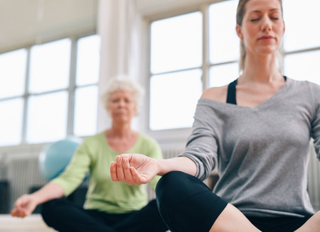 Indoor shot of women mediating in yoga class. Focus on hand. Relaxed fitness women practicing yoga at gym. Stok Fotoğraf