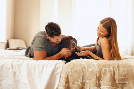 animal family: Shot of a young couple with their dog on the bed in morning. Young man and woman spending time with their pet in bedroom.