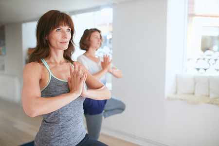 vriksasana: Two women in sportswear practice yoga together, standing in vrikshasana with hands in Namaste gesture. Female standing in tree pose at gym.
