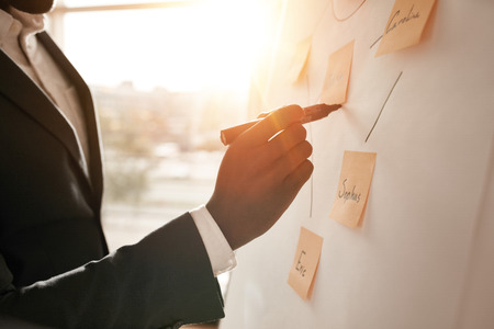 project planning: Cropped shot of businessman putting his ideas on white board during a presentation in conference room. Focus in hands with marker pen writing in flipchart. Stock Photo