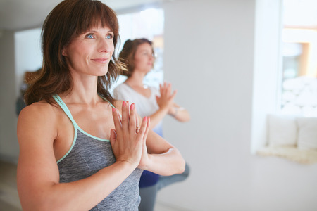 vriksasana: Portrait of fitness woman in doing yoga. Female trainer with student practicing Vrikshasana. Tree Pose with hands in Namaste gesture at gym.