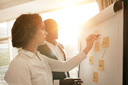 Two young associates working together drawing on flipchart. Businesswoman making a diagram on board and explaining it to male coworker during presentation in conference room.