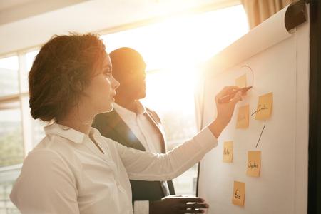 tormenta de ideas: Dos socios de jóvenes que trabajan juntos sobre la base de rotafolio. Empresaria hacer un diagrama de a bordo y explicárselo a compañero de trabajo masculino durante la presentación en la sala de conferencias. Foto de archivo