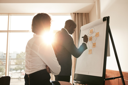 office notes: Corporate people discussing new business prospectus on flipchart. Businesspeople in conference room of a hotel working on new project. Stock Photo