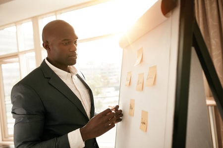 African businessman standing by a whiteboard with sticky notes. Young business executive presenting his ideas on flip board in conference room.