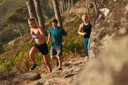 Grupa biegaczy z systemem na skałach w górę wzgórza. Młode osoby prowadzące cross country. Zdjęcie Seryjne