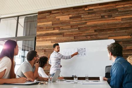 reunion de trabajo: Retrato de joven hombre de negocios dando presentación a los colegas. Hombre joven que muestra la nueva disposición de diseño de aplicaciones en la tarjeta blanca de compañeros de trabajo durante la presentación de negocios.