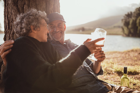 toasting wine: Portrait of relaxed mature couple sitting at a tree and toasting wine. Senior man and woman enjoying drinking wine at campsite on summer day. Stock Photo