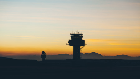 atc: View of air traffic control tower at cape town international airport in evening