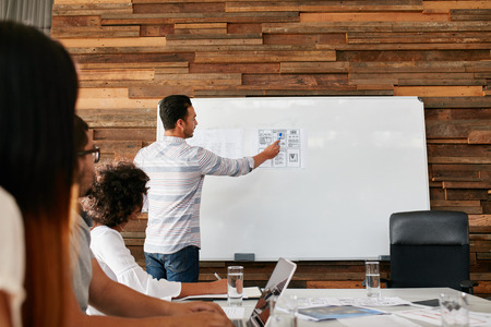 development: Brainstorming at a meeting room of creative agency. Group of young adults sitting at the table with man showing new mobile application layout on a whiteboard.