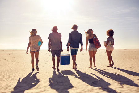 Rear view portrait of group of young people walking on the beach carrying a cooler box. Young men and woman on sea shore. Friends on beach vacation.