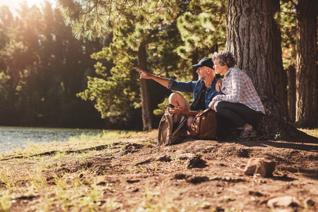 Пожилая пара сидит на дереве в лесу с человеком показывая что-то женщину. Старший мужчина и женщина на поход в природе в летний день.