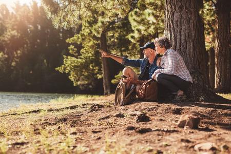 Ouder echtpaar zitten door een boom in het bos met de mens toont iets aan de vrouw. Senior man en vrouw op een wandeling in de natuur op een zomerse dag. Stockfoto