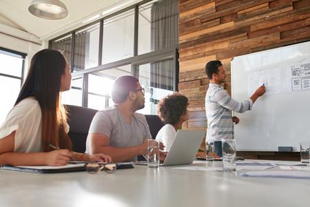 그의 동료들에게 창의적인 프레젠테이션을 남성 회사원의 총입니다. 회의실에있는 동료에게 사업 계획을 설명하는 사업가.
