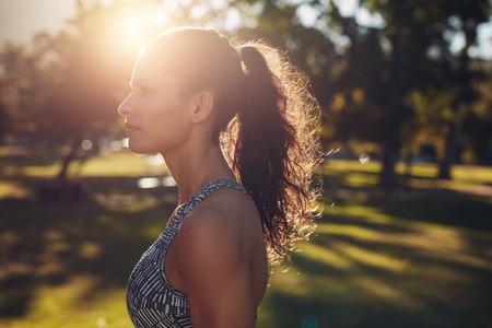 hacer footing: Vista lateral del tiro de la mujer joven del ajuste en el deporte sujetador de pie en el parque en un día soleado. Foto de archivo