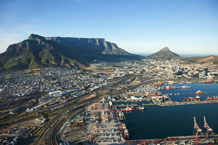 Aerial view of Cape Town city with Cape Town Harbour and Table Mountain, South Africa Stock Photo
