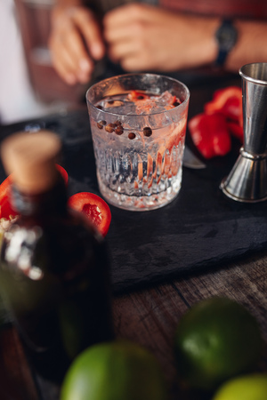 Close up of freshly prepared cocktail on bar counter