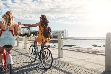 手をつないで海辺の遊歩道で自転車に乗る 2 つの若い女性の背面ショット。