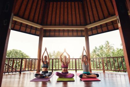Три молодые женщины, практикующие йогу в тренажерном зале, сидя со скрещенными ногами на циновках и медитации. Группа людей, которые делают медитацию в классе йоги.