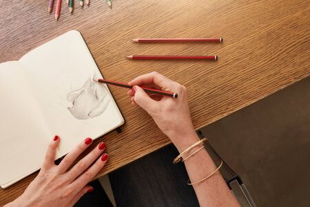 she: Close up of hands of female artist working with pencil sketch, she is sitting at a table. Woman drawing a flower with pencil sketch.