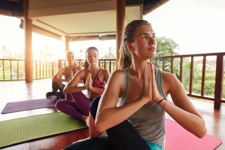ardha: Shot of young woman practicing yoga in half spinal twist pose with their hands joined. Young people in yoga class doing yoga workout. Ardha Matsyendrasana. Stock Photo