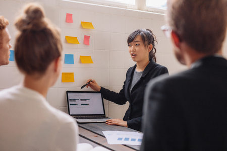 Asian businesswoman explaining her new business ideas to colleagues with laptop and adhesive notes on wall. Young female executive giving presentation to coworkers. 스톡 콘텐츠