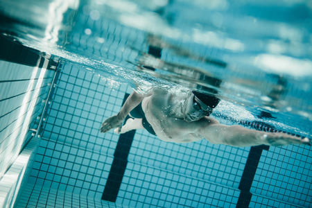 sportsperson: Underwater shot of young sportsman swimming in pool.  Professional male swimmer inside swimming pool.