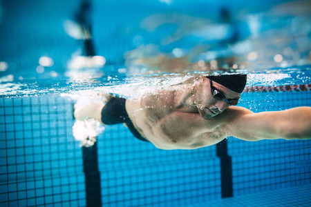 Underwater shot of professional male athlete swimming in pool. Man swimmer in action. Stok Fotoğraf - 64926086
