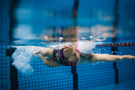 Underwater shot of young sportswoman swimming in pool. Female swimmer in action inside swimming pool. Reklamní fotografie - 70434257