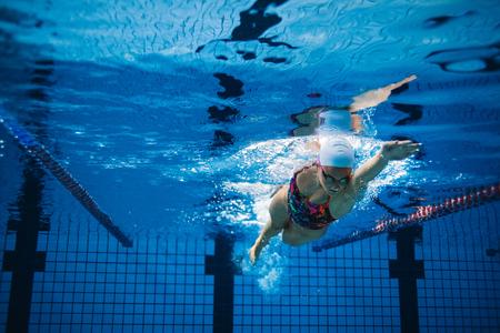 수영장에서 훈련하는 여자의 수 중 쐈 어입니다. 여성 수영 수영장 내부 행동입니다. 스톡 콘텐츠