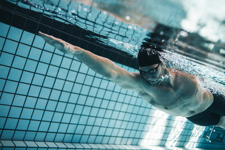 Young man swimming the front crawl in a pool. Underwater shot of pro swimmer practising for race in swimming pool. Stok Fotoğraf