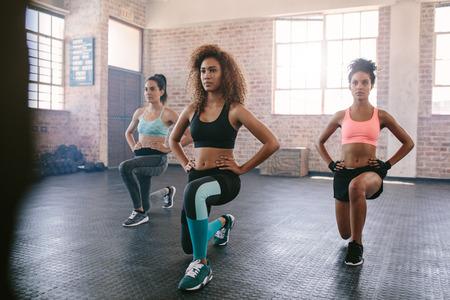 에어로빅 클래스에서 운동하는 젊은 여성의 초상화입니다. 체육관에서 함께 운동을하는 세 여성.