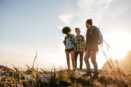 Groep mensen wandelen in de natuur op een zomerse dag. Drie jonge vrienden op een land lopen.