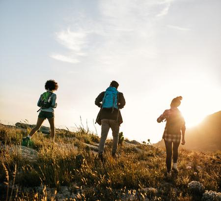 후면보기 여름 하루에 자연 하이킹 젊은 사람들의 쐈어. 세 젊은 친구가 한 나라 도보.