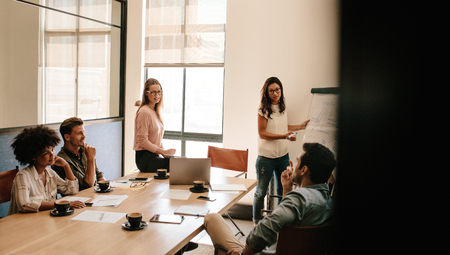 strategy meeting: Female executive explaining new business strategy to colleagues in conference room. Business people discussing in meeting room at office.