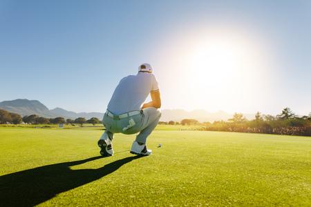 コース上のショットを目指してゴルフ プレーヤーの背面図です。ゲーム中にフィールド上でプロゴルファー。 写真素材