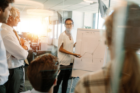 Asian businesswoman giving presentation to coworker over flip board. Female executive explaining statistics to colleagues during a meeting. Stock Photo