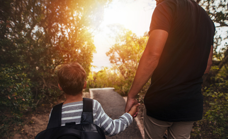Rear view shot of father and son walking through trees outdoors. Little boy with man holding hands and walking on a path in park. Stock Photo