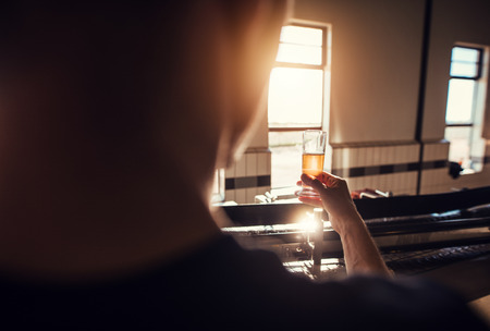 Rear view of manufacturer examining beer in glass at brewery. Man working at brewery checking the quality of beer in factory. Фото со стока