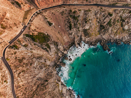 Drone shot overlooking Chapman Peak Drive in Cape Town, South Africa.