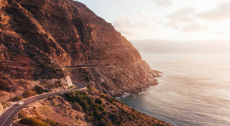 Chapmans Peak Drive in South Africa close to Cape Town. Aerial view shot from drone.