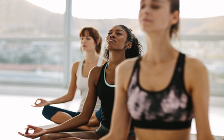 Fitness people sitting on floor with legs crossed doing yoga meditation. Group of people meditating in lotus pose at yoga class.