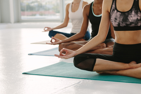 Females in gym class sitting on exercise mat with legs crossed and hands on knees. People meditating in Padmasana yoga pose at class. Cropped shot with focus on hands.
