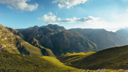 View of majestic mountain range and valley on a beautiful sunny day. Beautiful Jonkershoek nature reserve.