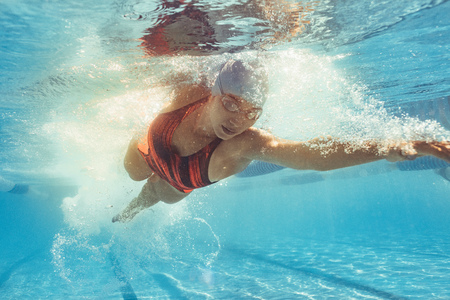 Underwater shot of woman swimming the front crawl in sports pool. Fit female athlete practising in swimming pool.
