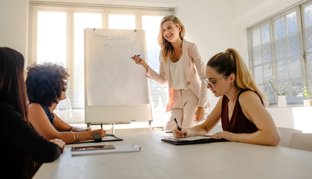 Caucasian woman giving presentation on flipchart to colleagues sitting around table. Multi-ethnic business women discussing a budget plan in a meeting.