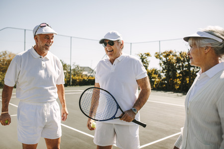Senior people playing tennis on a sunny day. Cheerful old men standing on tennis court holding racket and balls. Banque d'images