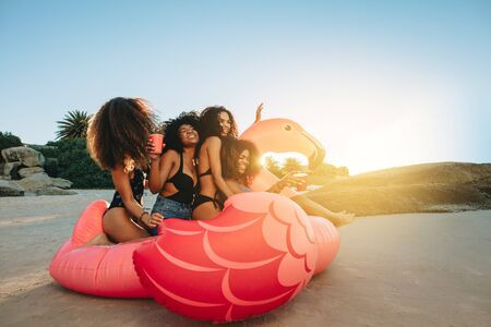 Group of girls sitting on a big inflatable pool toy on beach. Females sitting together on a inflatable swan at the sea shore on a sunny day.