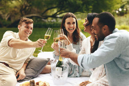 Multi-ethnic friends clinking champagne glasses while sitting at park. Two couples enjoying a luxury picnic on the countryside. Banque d'images