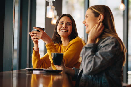 Two female friends sitting at cafe having coffee and gossiping. Female friends meeting in a coffee shop on a weekend. Banque d'images